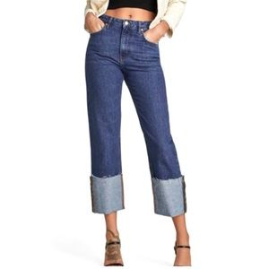 Zara Folded Up Straight Leg Jeans in Malibu Blue